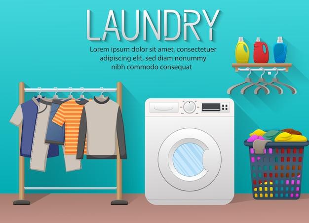 Banner de servicio de lavandería con elementos de la sala de lavandería Vector Premium