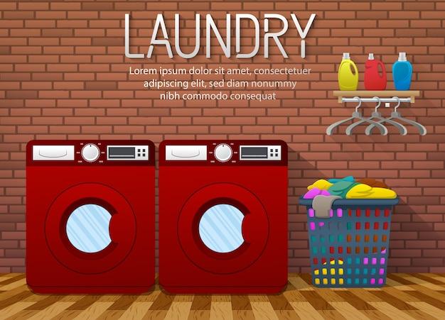 Banner de servicio de lavandería con vista interior de la sala de lavandería Vector Premium