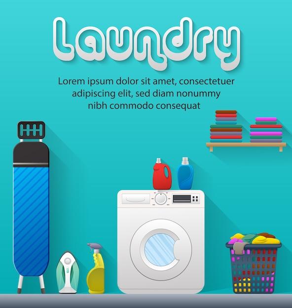 Banner de servicio de lavandería con vista a la sala de lavandería Vector Premium