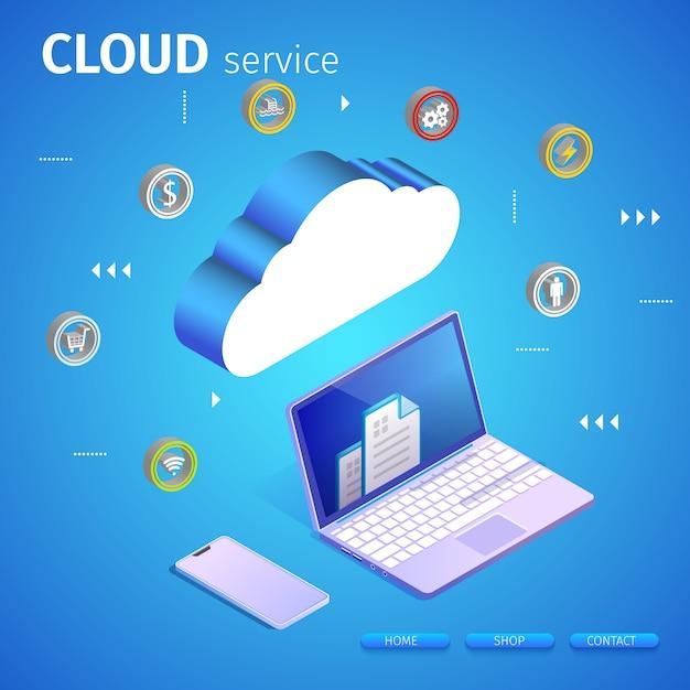 Banner de servidor web y portátil vector gratuito