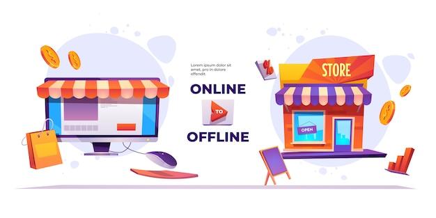 Banner del sistema en línea a fuera de línea vector gratuito