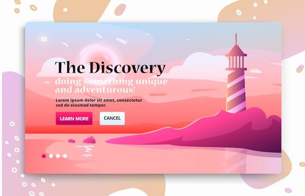 Banner de sitio web con faro en la costa junto al mar. Vector Premium