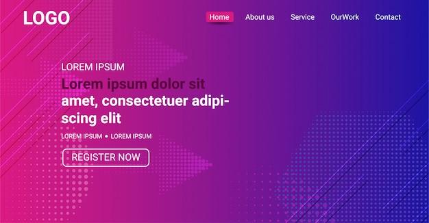 Banner de sitio web, fondo degradado de color púrpura y azul abstracto Vector Premium