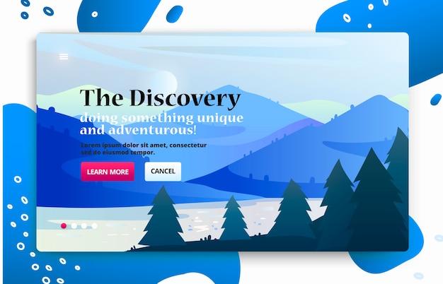 Banner de sitio web con ilustración de viajes del parque nacional, vistas a la montaña y al lago. Vector Premium