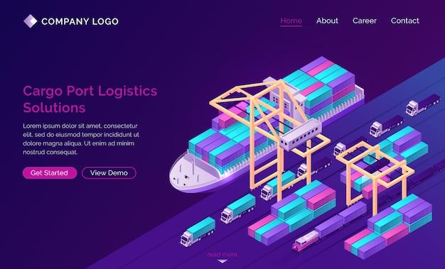 Banner de soluciones logísticas del puerto de carga vector gratuito
