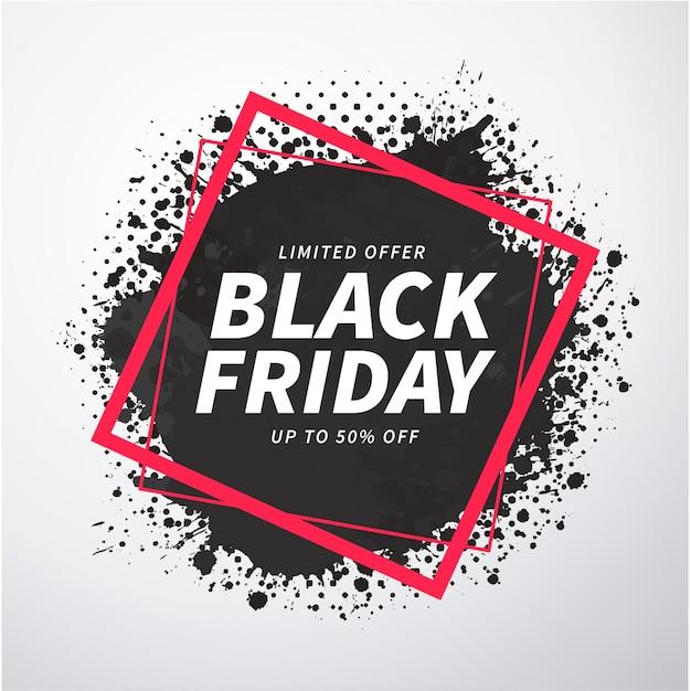 Banner de splash viernes negro abstracto vector gratuito