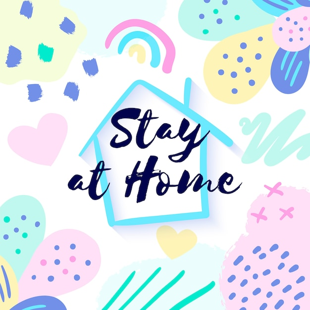 Banner stay at home para redes sociales vector gratuito