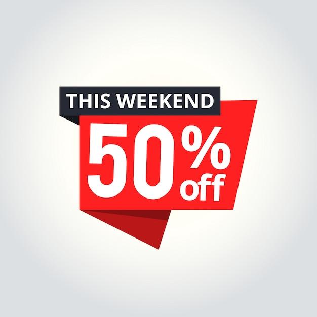 Banner de super sale. oferta de fin de semana, oferta especial, ahorre hasta 50%. Vector Premium