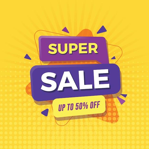 Banner super venta hasta 50% de descuento. Vector Premium