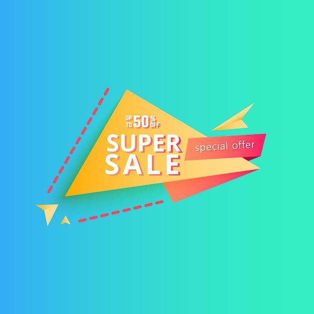 Banner super venta. banner de descuento. Vector Premium