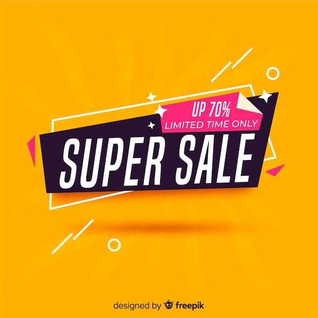 Banner de super venta colorido abstracto vector gratuito