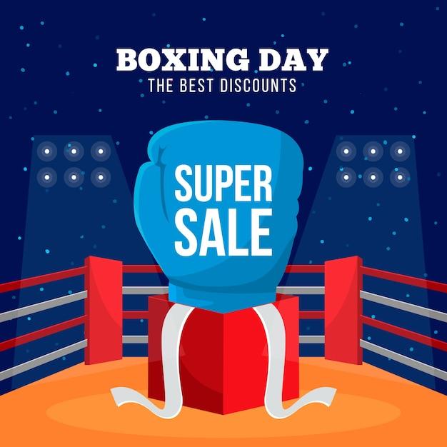 Banner de super venta de día de boxeo de diseño plano vector gratuito