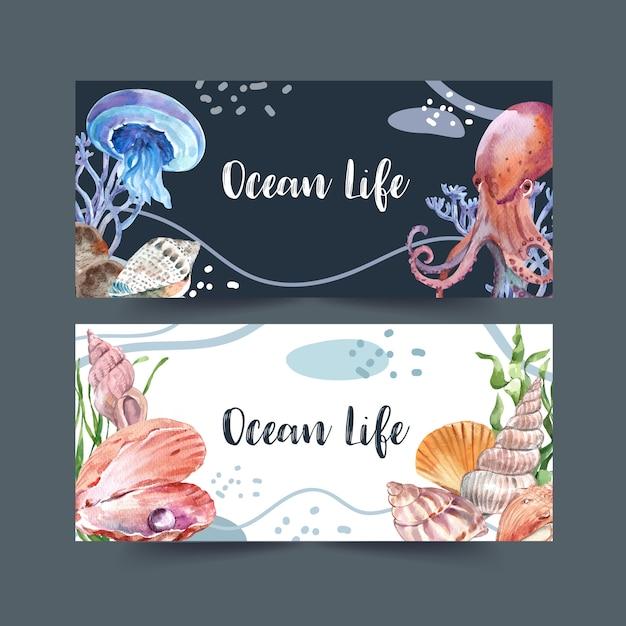 Banner con tema clásico de vida marina, ilustración creativa de acuarela. vector gratuito