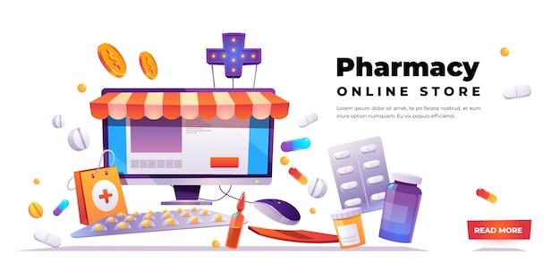 Banner de tienda en línea de farmacia vector gratuito