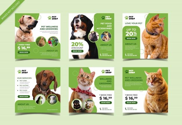 Banner de tienda de mascotas para plantilla de publicación en redes sociales Vector Premium