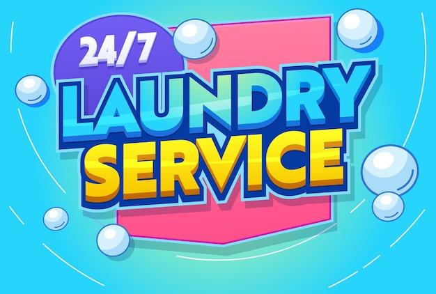 Banner de tipografía de servicio de lavandería profesional. lavadora moderna agitación, aclarado, planchado y plegado de ropa Vector Premium