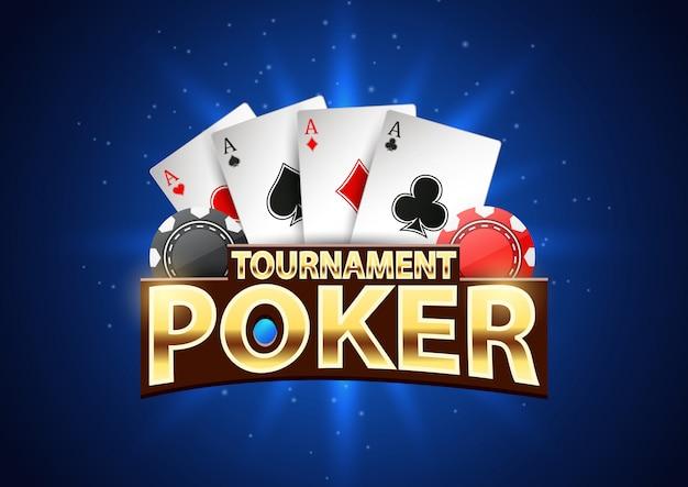 Banner de torneo de póker con fichas y naipes. Vector Premium