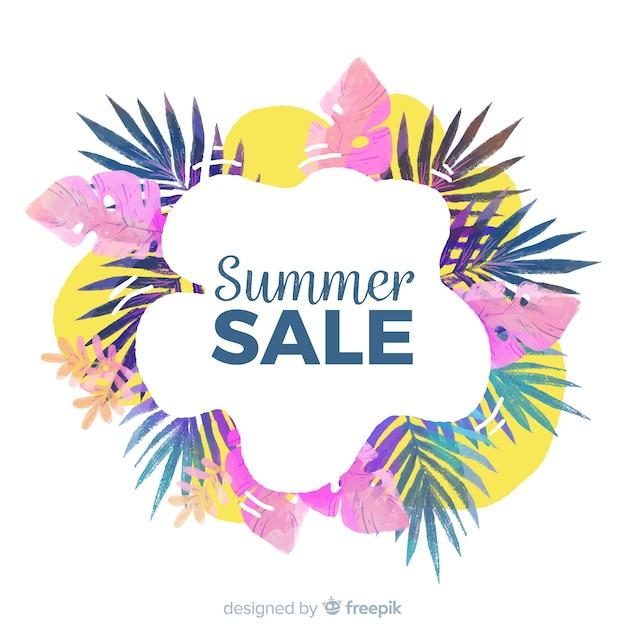 Banner tropical de rebajas de verano vector gratuito