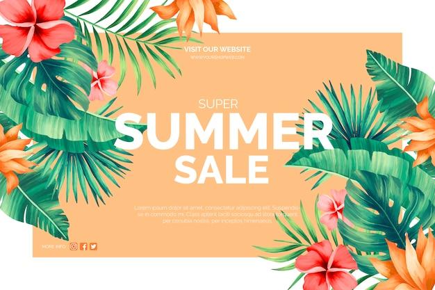 Banner tropical de venta de verano vector gratuito