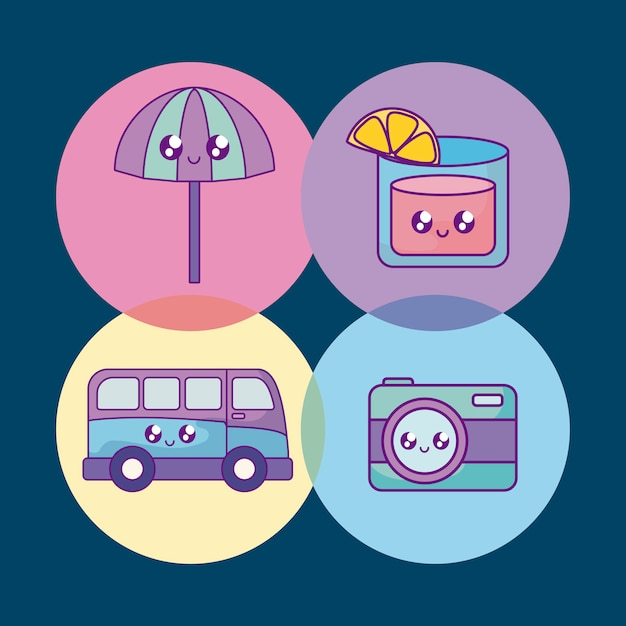 Banner de vacaciones de verano establece iconos vector gratuito