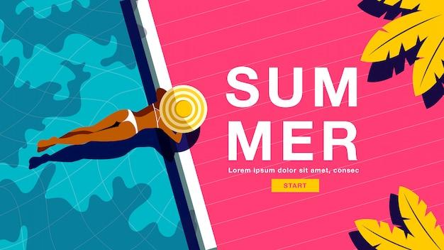 Banner de vacaciones de verano Vector Premium