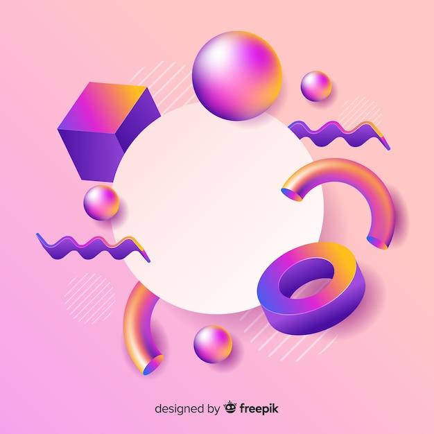 Banner vacío con formas geométricas tridimensionales vector gratuito
