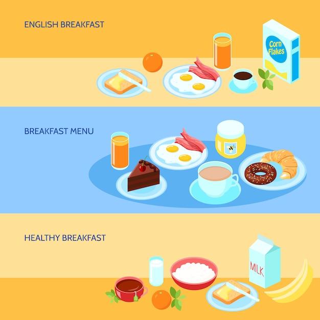 Banner con varios tipos de desayunos. vector gratuito