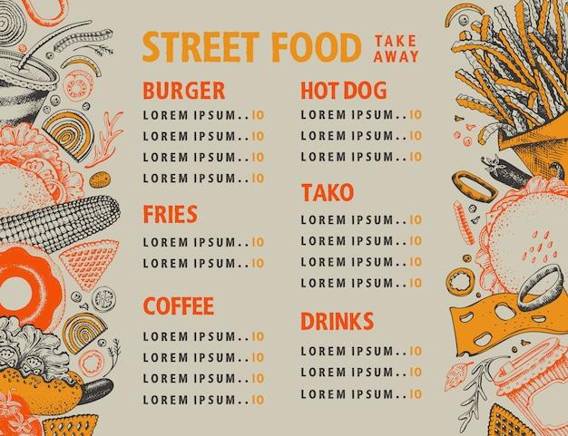 Banner de vector de comida rápida. plantilla de diseño de menú de comida callejera. Vector Premium