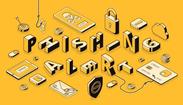 Banner de vector isométrico de alerta de phishing vector gratuito