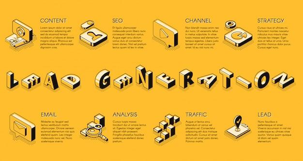 Banner de vector de proyección isométrica de estrategia de marketing de negocios de internet de generación de plomo vector gratuito