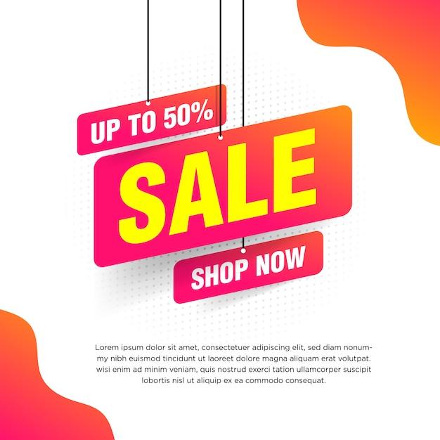 Banner de venta abstracta con degradado naranja para ilustración de ofertas especiales, ventas y descuentos Vector Premium