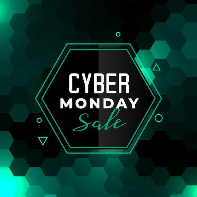 Banner de venta de ciber lunes en estilo hexagonal vector gratuito