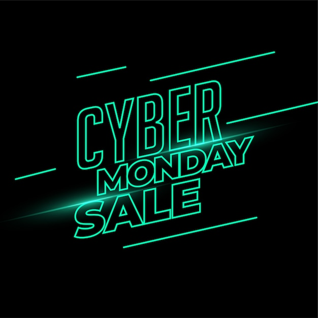 Banner de venta de cyber monday en estilo de luz de neón vector gratuito