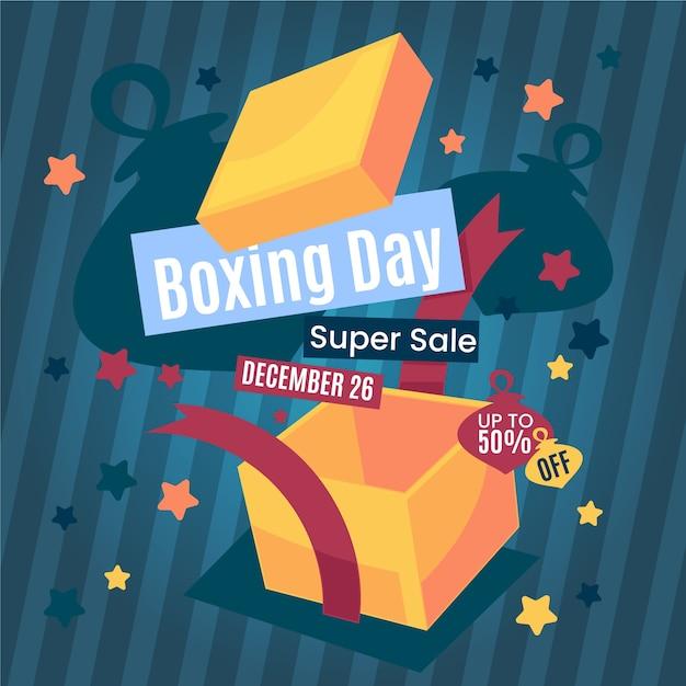 Banner de venta de día de boxeo plano vector gratuito