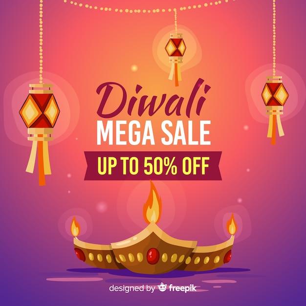 Banner de venta diwali dibujado a mano vector gratuito