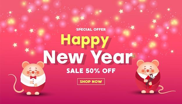 Banner de venta de feliz año nuevo con ratones lindos Vector Premium
