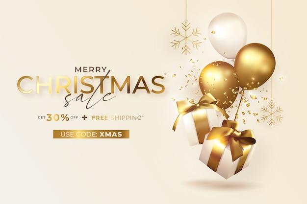 Banner de venta de feliz navidad con regalos y globos realistas vector gratuito
