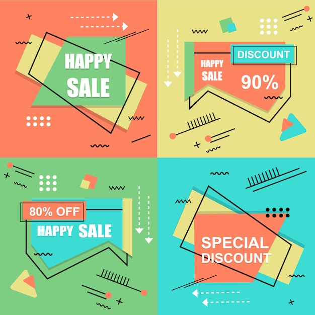 Banner de venta flash set elements premium vector pack Vector Premium