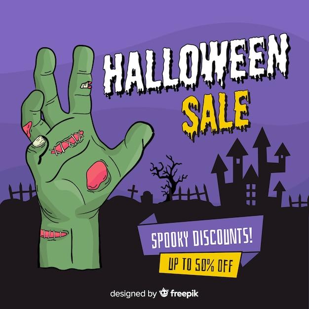 Banner de venta de halloween dibujado a mano vector gratuito