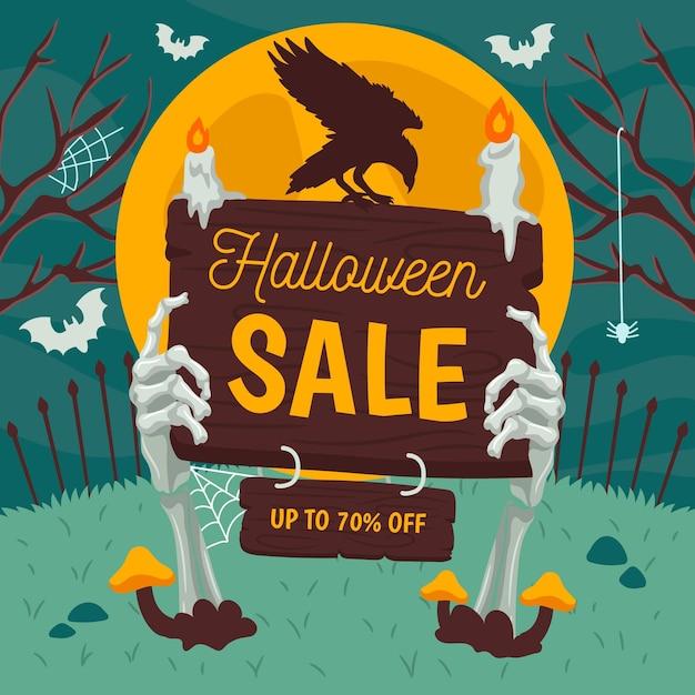 Banner de venta de halloween dibujado a mano Vector Premium