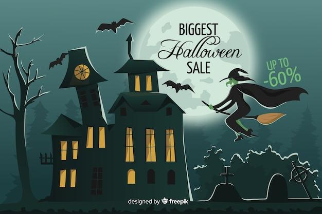 Banner de venta de halloween en diseño plano vector gratuito