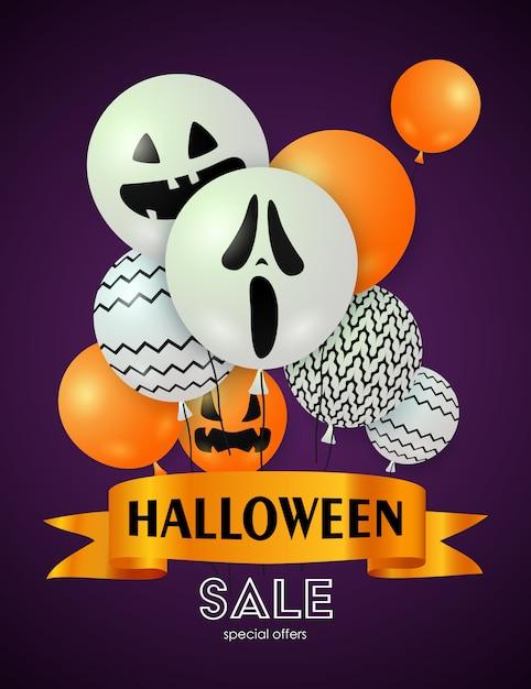 Banner de venta de halloween con globos vector gratuito