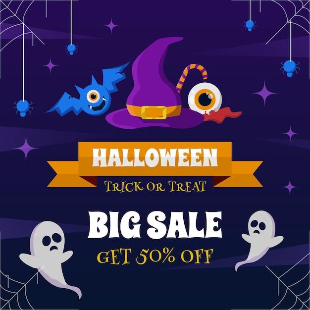 Banner de venta de halloween Vector Premium