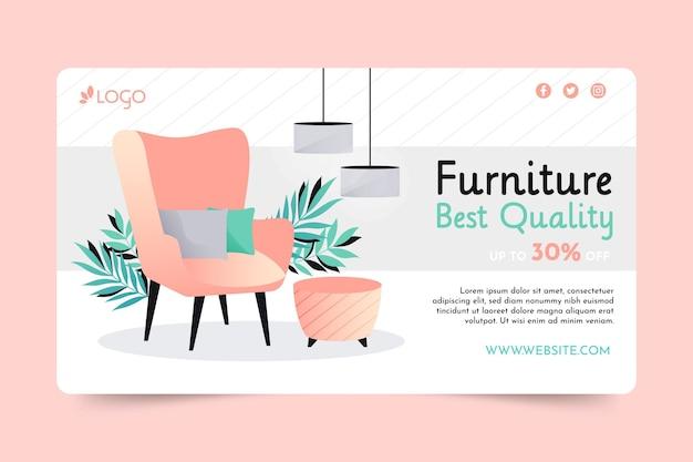 Banner de venta de muebles degradados vector gratuito