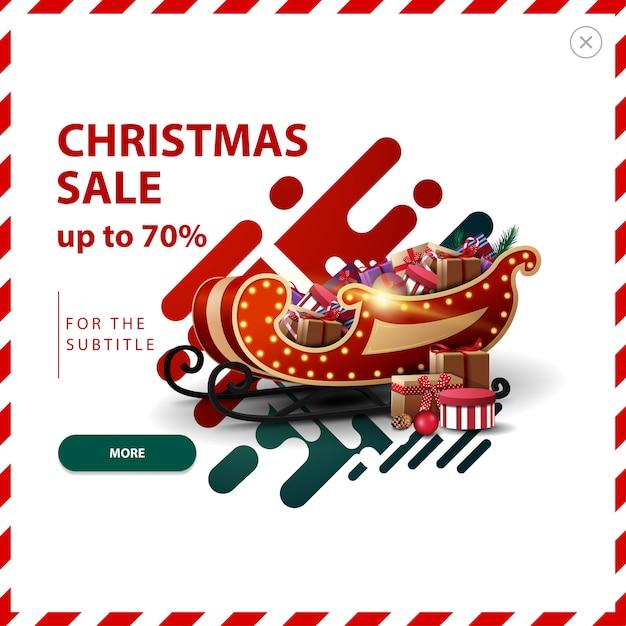 Banner de venta de navidad, hasta 70% de descuento, pop-up de descuento rojo y verde con formas líquidas abstractas y trineo de santa con regalos. Vector Premium