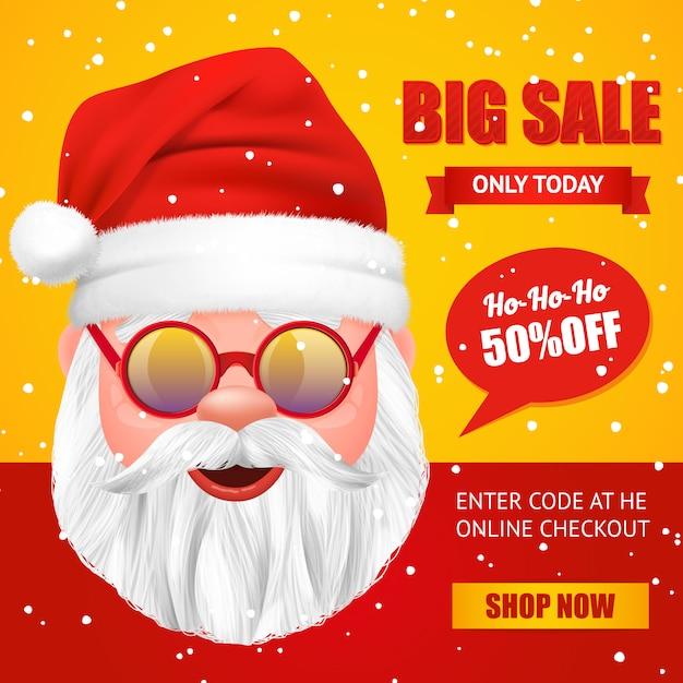 Banner de venta de navidad de santa claus vector gratuito