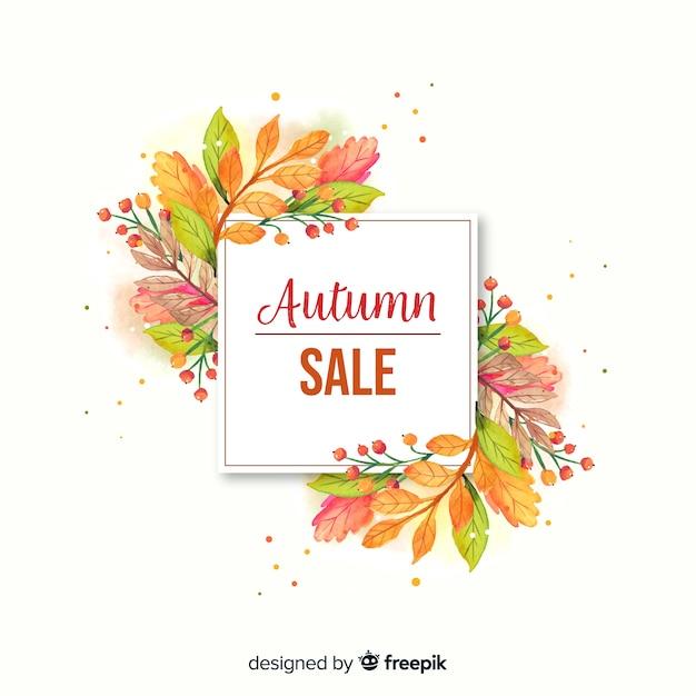 Banner de venta otoño acuarela vector gratuito