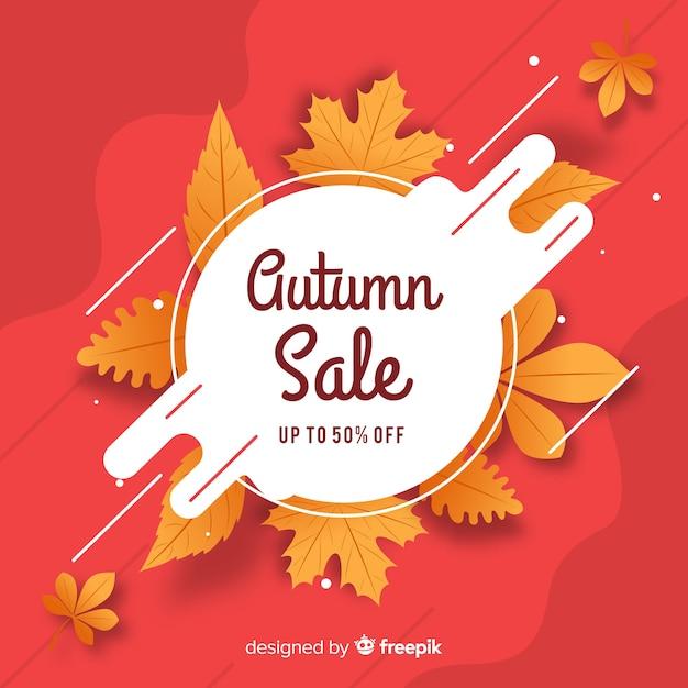 Banner de venta otoño diseño plano vector gratuito