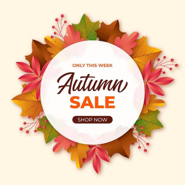 Banner de venta otoño realista vector gratuito