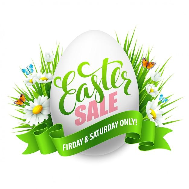 Banner venta de pascua con huevos y flores de primavera. Vector Premium